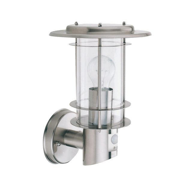 1 Light Outdoor Manufacturer_Searchlight, Fitting Type_Wall Light With Motion Sensor IP44, Stainless Steel