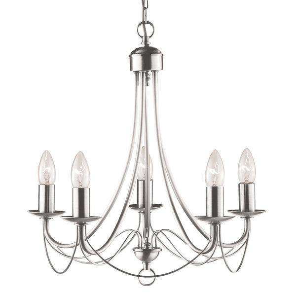 Maypole 5 Light Manufacturer_Searchlight, Fitting Type_Ceiling Light, Satin Silver