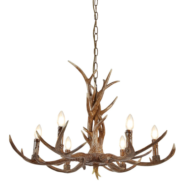 Stag 6 Light Manufacturer_Searchlight, Fitting Type_Ceiling Light, Rustic Brown