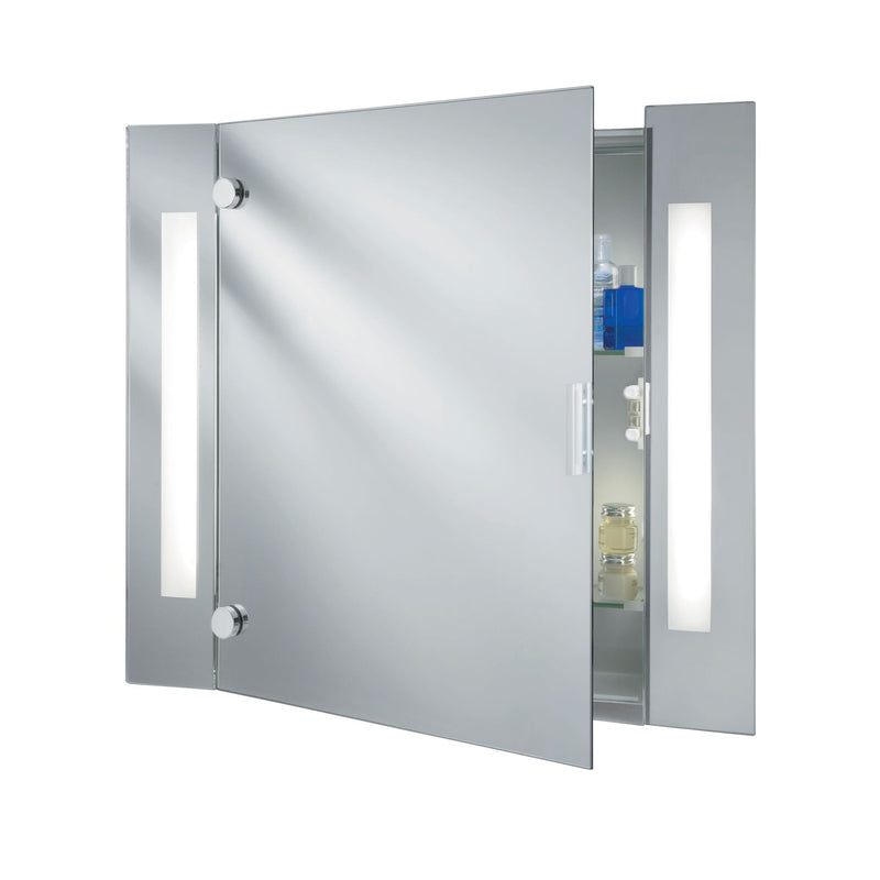 Illuminated Bathroom 2 Light Mirror Cabinet IP44 With Shaver Socket
