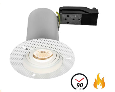 Trimless Plaster-In Fire Rated Adjustable Round Downlight IP20, Matt White