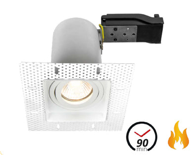 Trimless Plaster-In Fire Rated Adjustable Square Downlight IP20, Matt White
