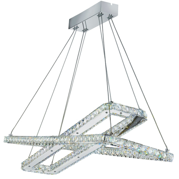 CLOVER - LED CEILING (2 x RECTANGLE) CHROME CLEAR CRYSTAL GLASS