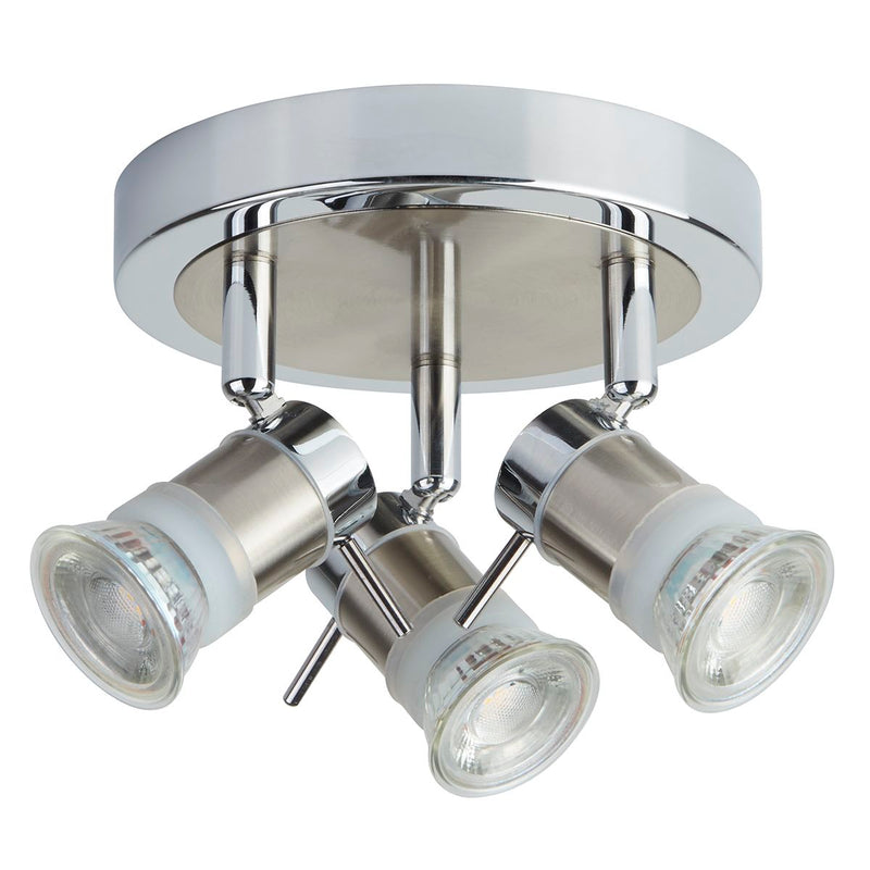 Aries 3 Light Adjustable Ceiling Spotlight, Polished Chrome