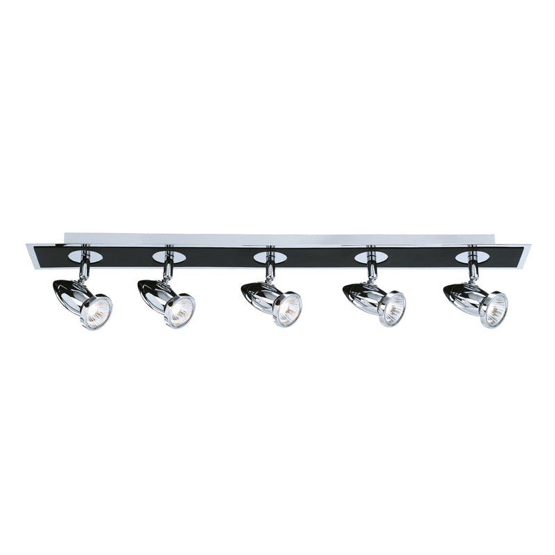 Comet 5 Light Ceiling Spotlight, Black/Polished Chrome