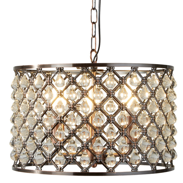 Marquise 3 Light Ceiling Pendant With Glass Tear Drops, Antique Copper