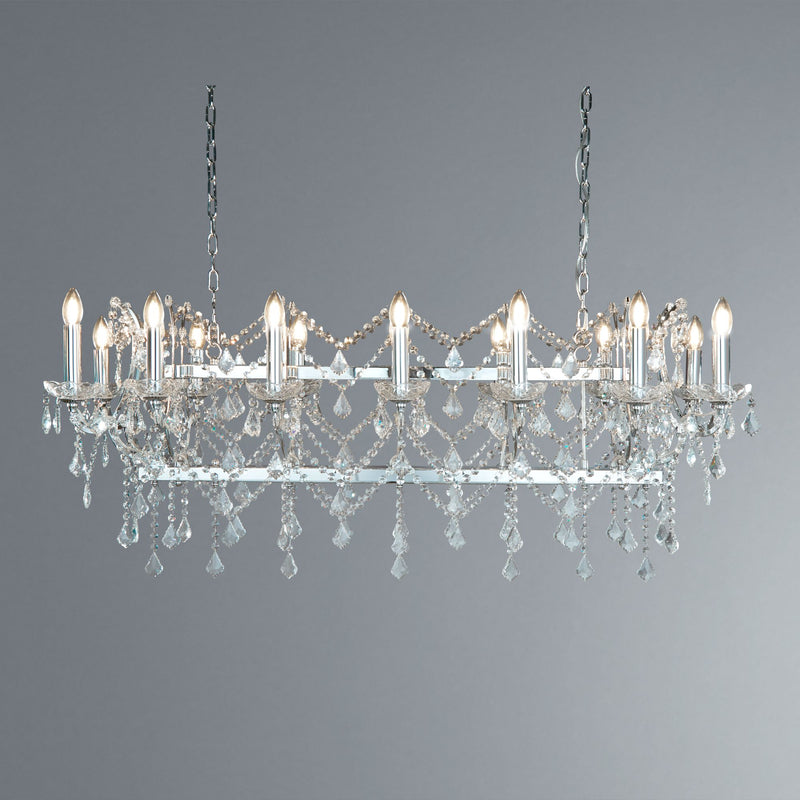 Florence 14 Light Crystal Pendant Bar Light With Clear Crystals, Polished Chrome