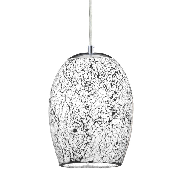 Crackle 1 Light Pendant With White Mosaic Glass, Satin Silver
