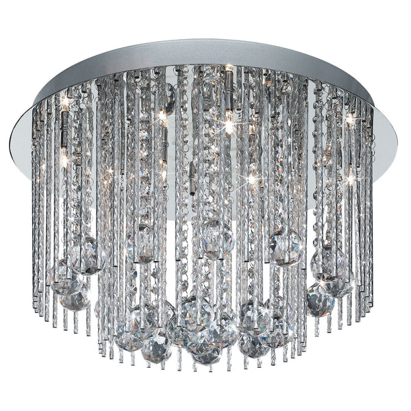Beatrix 8 Light Semi-Flush Ceiling Crystal Light, Polished Chrome