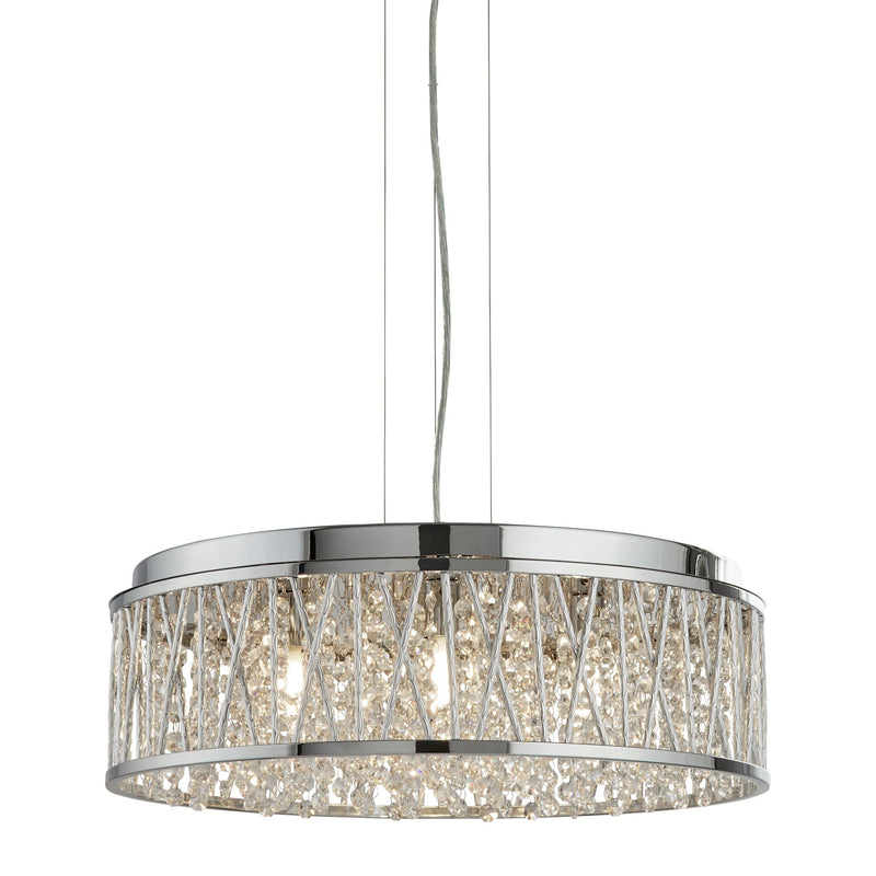 Elise 7 Light Crystal Ceiling Pendant, Polished Chrome