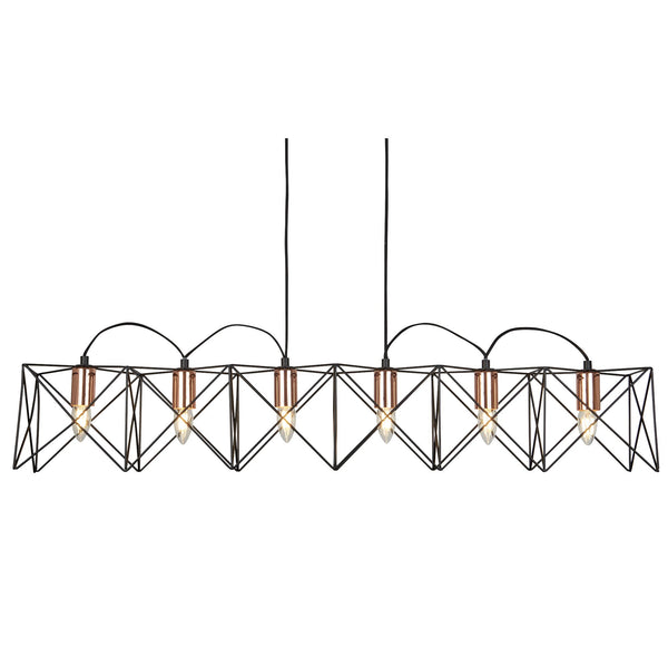 Anthea 6 Light Ceiling Pendant, Black Frame With Copper