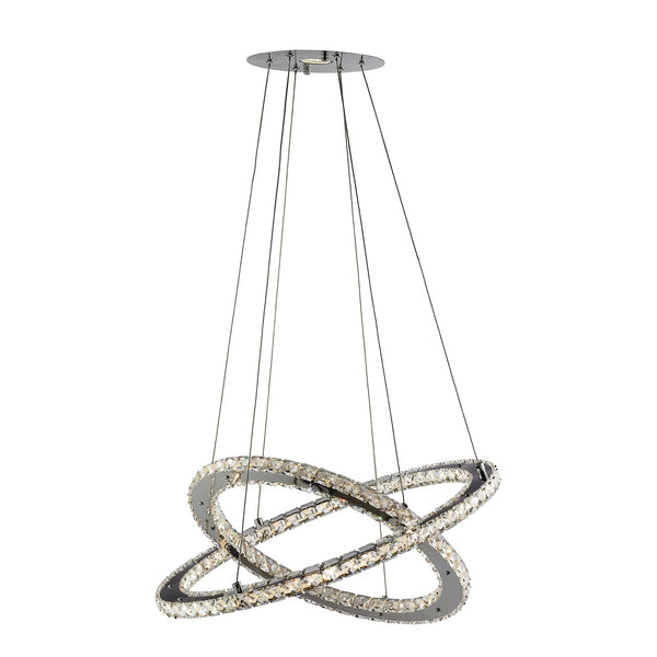 Clover 168 LED 2 Ring Pendant With Clear Crystals, Polished Chrome