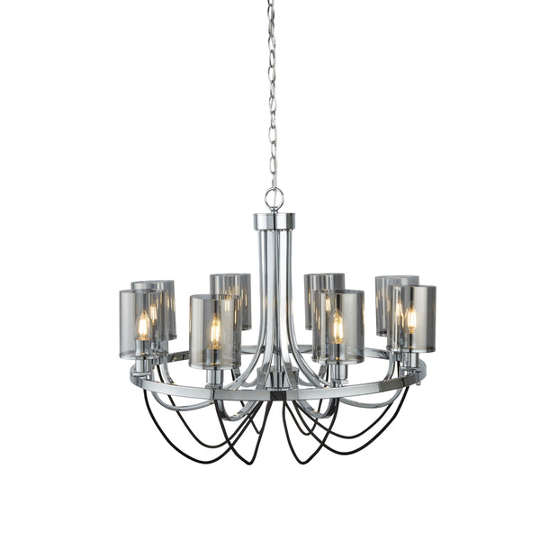 CATALINA 8LT CEILING CHROME BLACK BRAIDED CABLE SMOKED GLASS SHADES