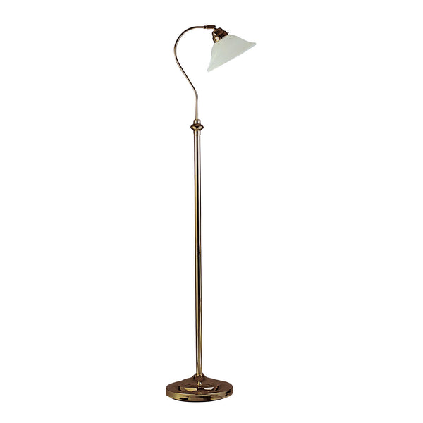 1 Light Floor Lamp With Marble Glass Shade, Antique Brass