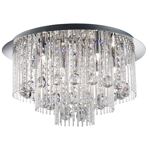 Beatrix Blue LED 8 Light Semi-Flush Ceiling Crystal Light, Polished Chrome