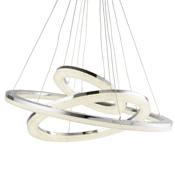 Circle 3 Ring LED Pendant, Polished Chrome