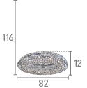 VESUVIUS -  OVAL 10LT CEILING CHROME WITH CLEAR CRYSTAL COFFINS TRIM & BALL DROPS