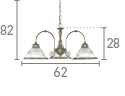 American Diner 3 Light Ceiling Pendant, Antique Brass
