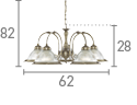 American Diner 5 Light Ceiling Pendant, Antique Brass