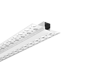 Recessed Aluminum LED profile for drywall use, with holes on the flange - includes PC diffused cover - 2m