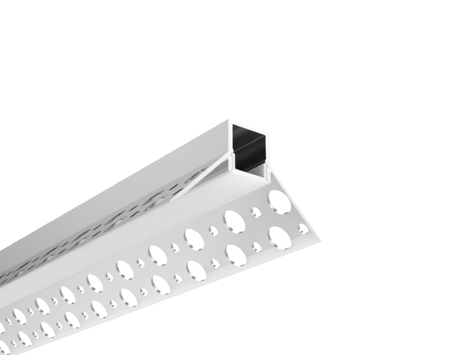 Trimless Plaster-In Recessed Aluminium LED Profile For Internal Corner With Diffuser 3M