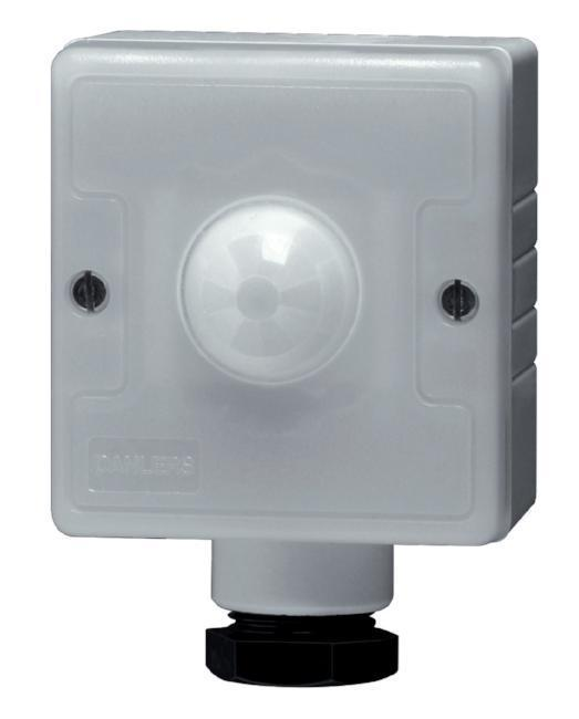Outdoor PIR Security Switch Grey Person Detector Switch - IP54 rated Presence detection.