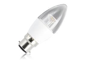 Candle Cleared Lamp Dimmable Half Glass Bulb B22 5.6w