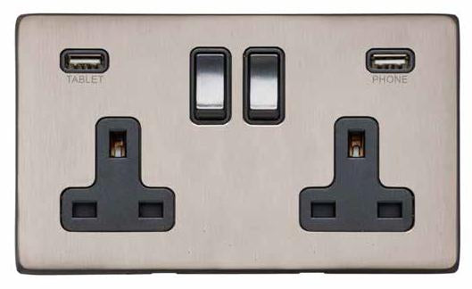 Double 13 AMP Socket with USB