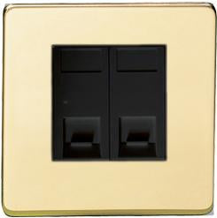 2 Gang Secondary Line Telephone and Data Sockets