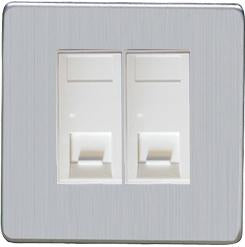 2 Gang RJ45 Telephone and Data Sockets