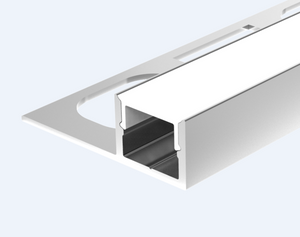 Aluminium LED profile whith flange, recessed into 10mm tile or marble includes PC diffused cover - 2m
