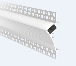 "Aluminium LED profile with single flange, recessed into 5/8"" drywall. Includes PC diffused cover - 2m"