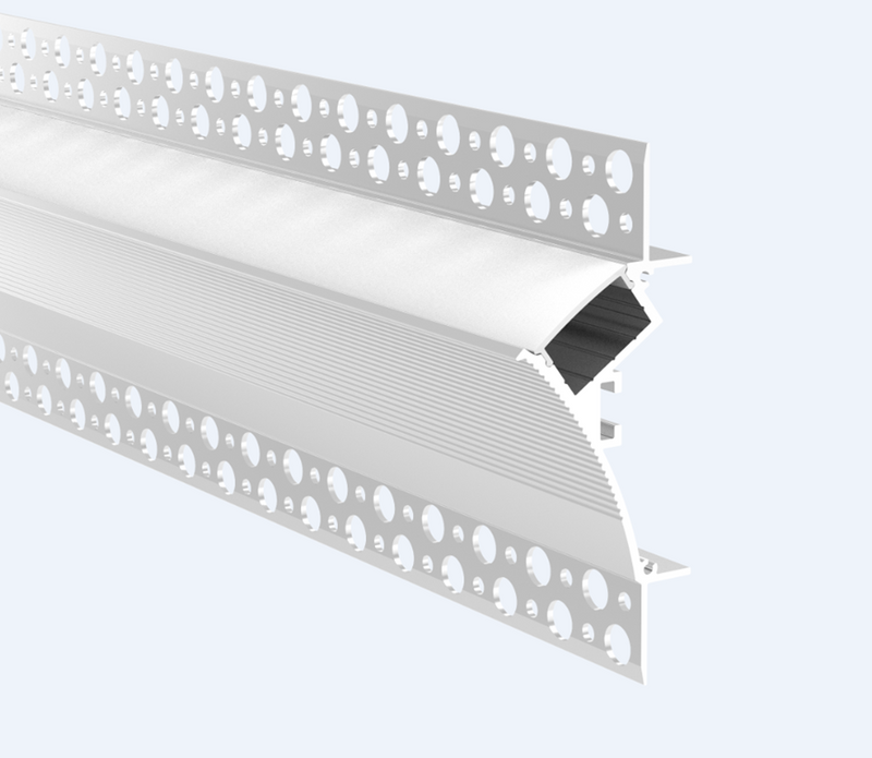 Trimless Plaster-In Recessed Aluminium LED Profile For Coving With Diffuser 3M