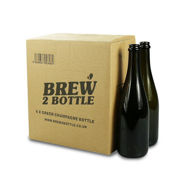 6 x 75cl Brew2Bottle Green Glass Champagne Bottle - Brew2Bottle Home Brew