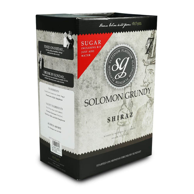 Solomon Grundy Platinum 30 Bottle 7 Day Red Wine Kit - Shiraz - Brew2Bottle