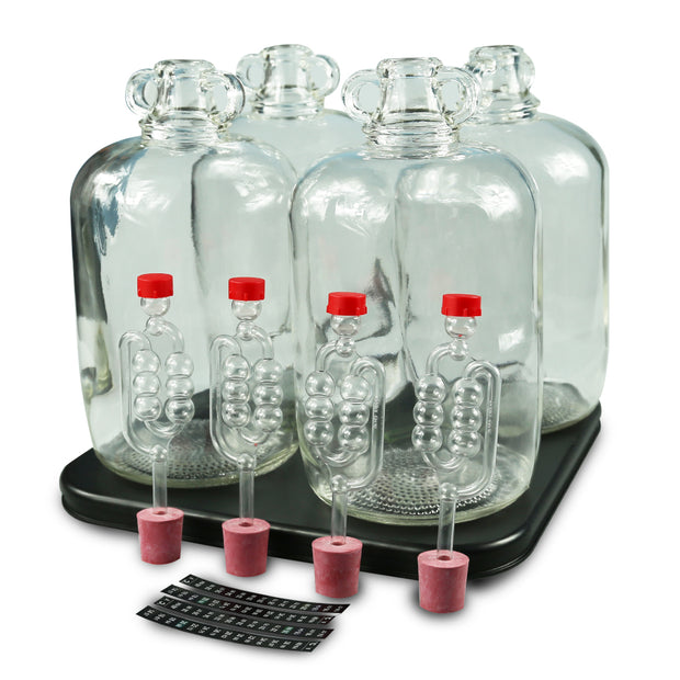 4 x 5ltr Glass Demijohns With 4 Demi Heat Pad, Bungs, Airlocks & LCD Thermometers - Brew2Bottle Home Brew