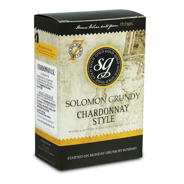 Solomon Grundy Gold 6 Bottle 7 Day White Wine Kit - Chardonnay - Brew2Bottle Home Brew