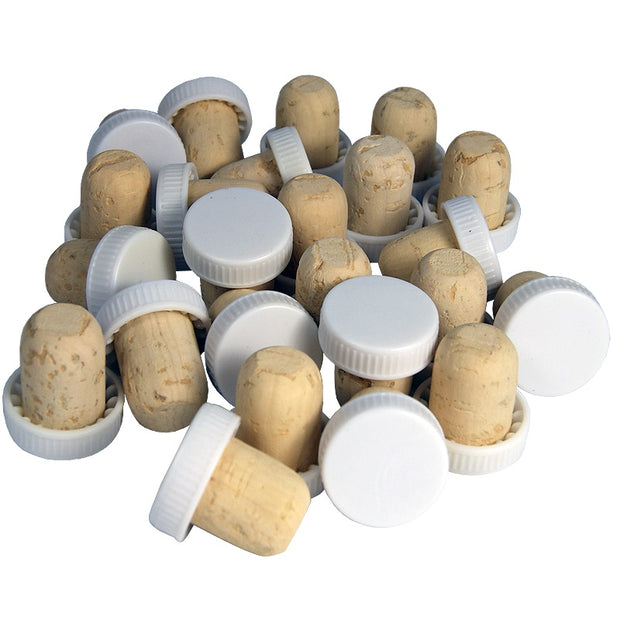 White Plastic Topped Corks (30 Pack) - Brew2Bottle Home Brew