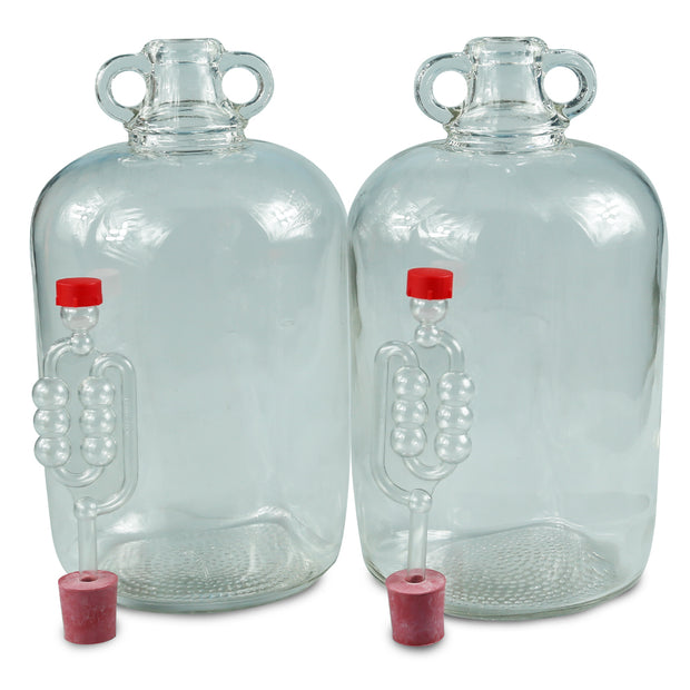 2 x 5ltr Glass Demijohns With Bungs & Airlocks - Brew2Bottle Home Brew