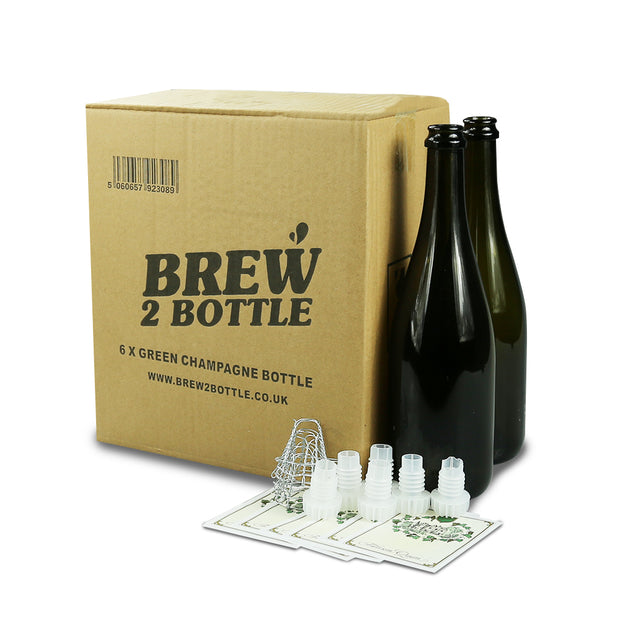 6 x 75cl Brew2Bottle Green Glass Champagne Bottle with Corks/Wires/Labels - Brew2Bottle Home Brew