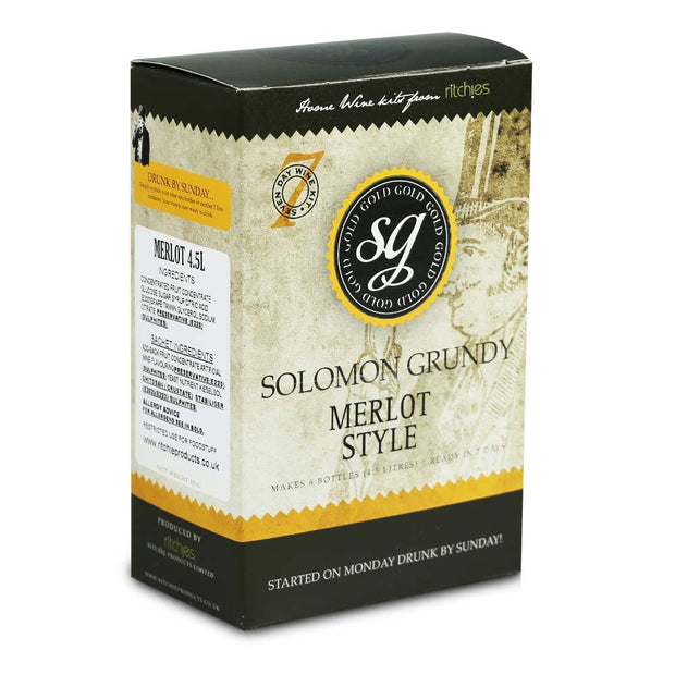 Solomon Grundy Gold 6 Bottle 7 Day Red Wine Kit - Merlot - Brew2Bottle Home Brew