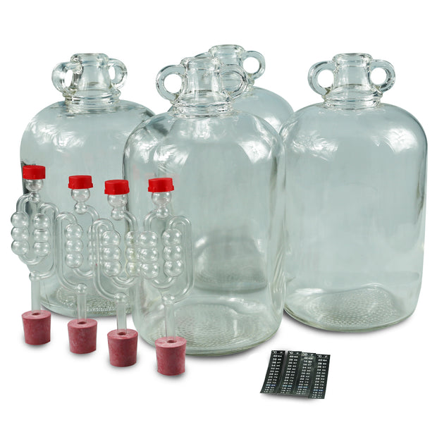 4 x 5ltr Glass Demijohns With Bungs, Airlocks & LCD Thermometers - Brew2Bottle Home Brew