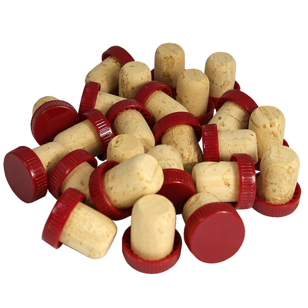 Red Plastic Topped Corks (30 Pack) - Brew2Bottle Home Brew