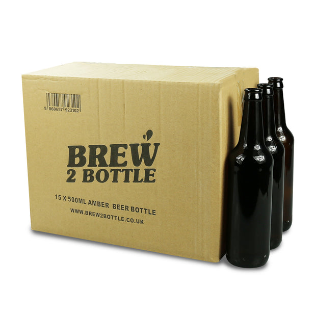 15 x 500ml Brew2Bottle Glass Amber Beer Bottles - Brew2Bottle Home Brew