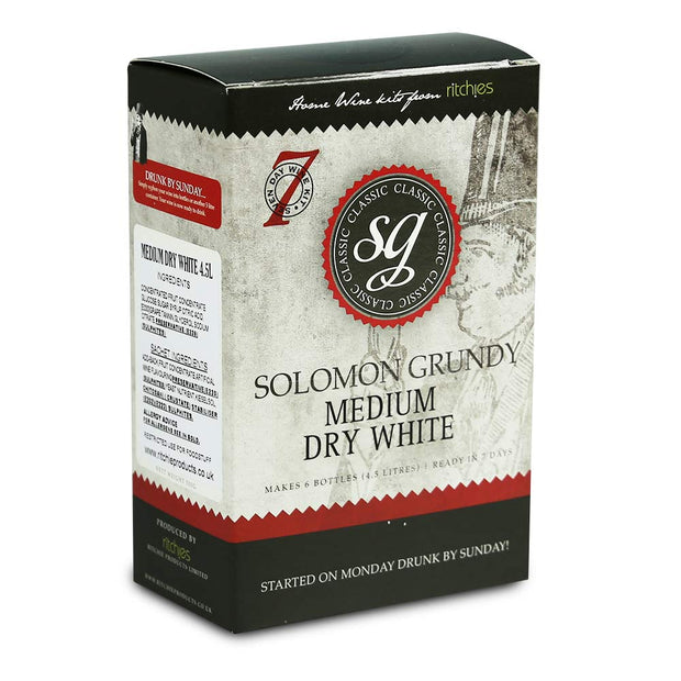 Solomon Grundy Classic 6 Bottle 7 Day White Wine Kit - Medium Dry White - Brew2Bottle