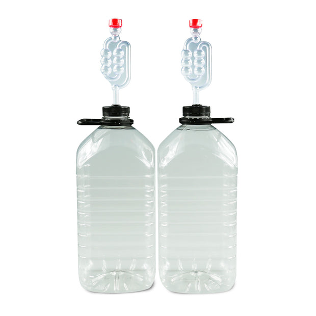 Pair of 5 Litre PET Demi-Johns with Caps, Grommets and Airlocks - Brew2Bottle Home Brew