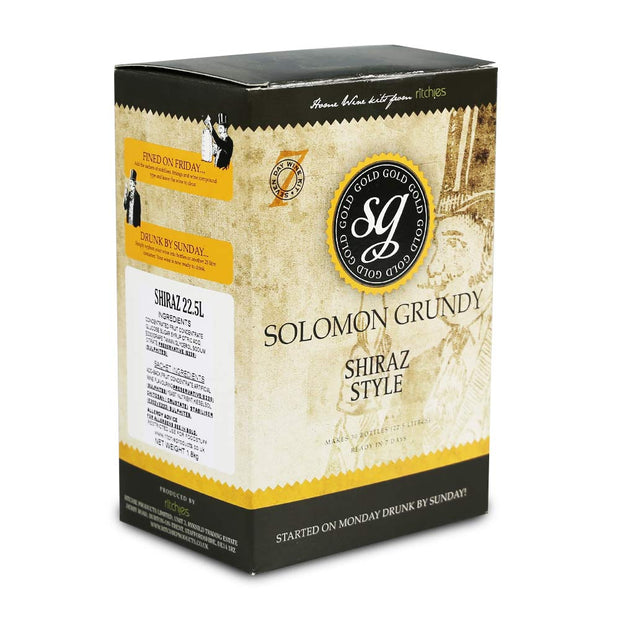 Solomon Grundy Gold 30 Bottle 7 Day Red Wine Kit - Shiraz - Brew2Bottle