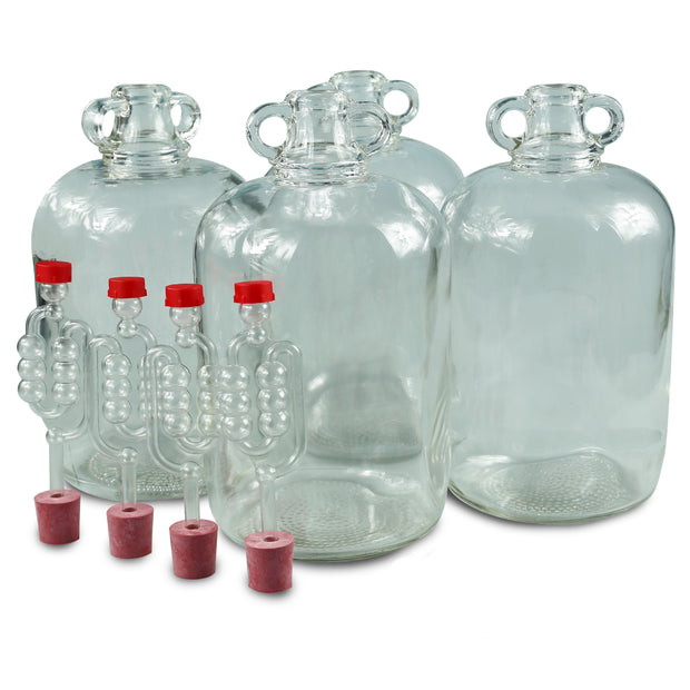 4 x 5ltr Glass Demijohns With Bungs & Airlocks - Brew2Bottle Home Brew