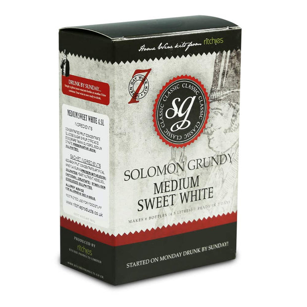 Solomon Grundy Classic 6 Bottle 7 Day White Wine Kit - Medium Sweet White - Brew2Bottle Home Brew