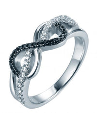 Rodio Spinello Impilabile Infinito Sterling 925 Argento Anello FL33201A